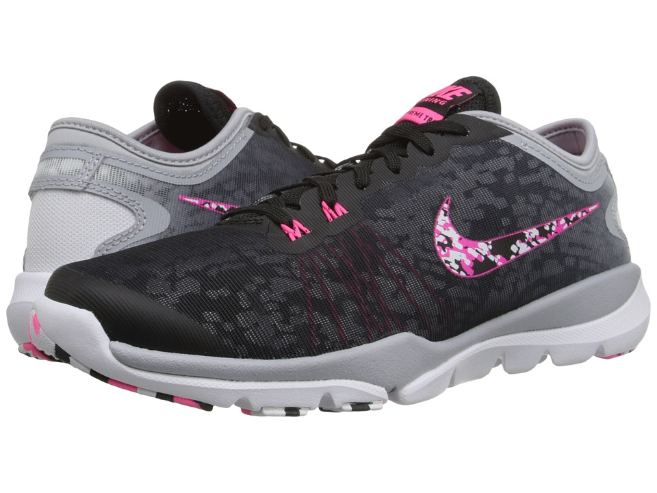 Nike - Flex Supreme TR 4 PR (Black/Wolf Grey/White/Hyper Pink) Women's Cross Training Shoes