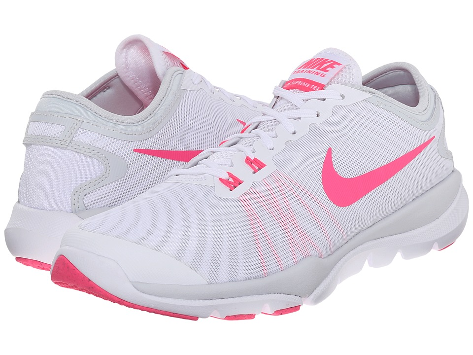 Nike - Flex Supreme TR4 (White/Pure Platinum/Wolf Grey/Hyper Pink) Women's Cross Training Shoes