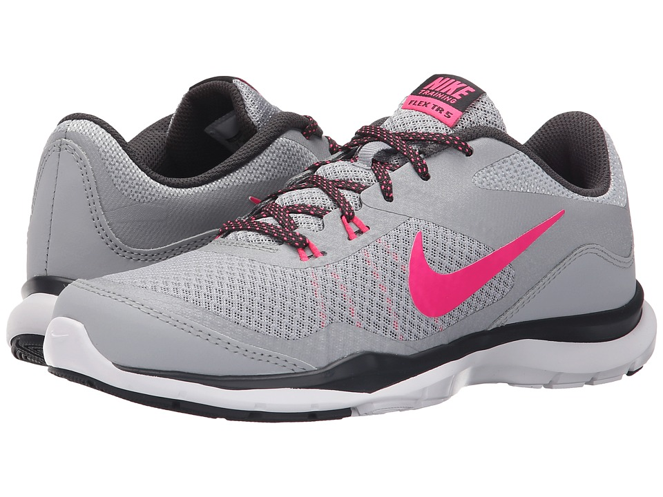 Nike - Flex Trainer 5 (WOlf Grey/Anthracite/Hyper Pink) Women's Cross Training Shoes