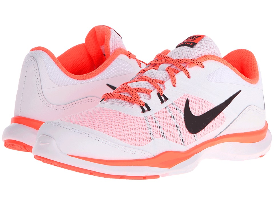 Nike - Flex Trainer 5 (White/Bright Mango/Black) Women's Cross Training Shoes