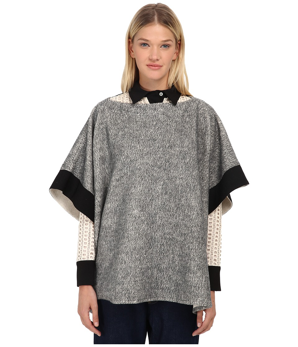See by Chloe - Brushed Jersy Pancho Top (Grey) Women's Short Sleeve Pullover