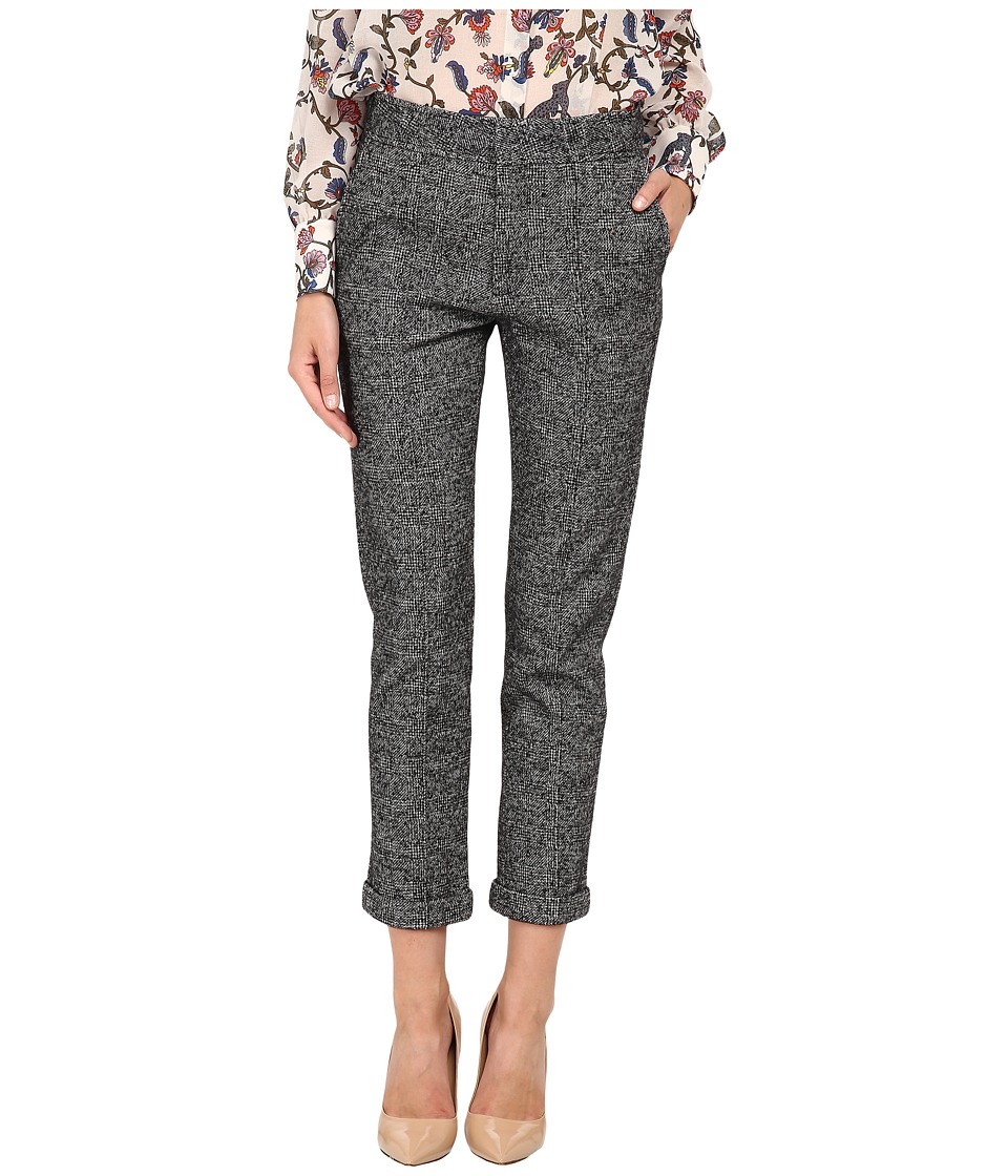 See by Chloe - Brushed Jersey Cropped Trousers (Grey Plaid) Women's Casual Pants