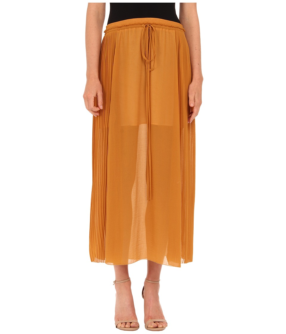 See by Chloe - Pleated Gorgete Maxi Skirt (Saffron) Women's Skirt