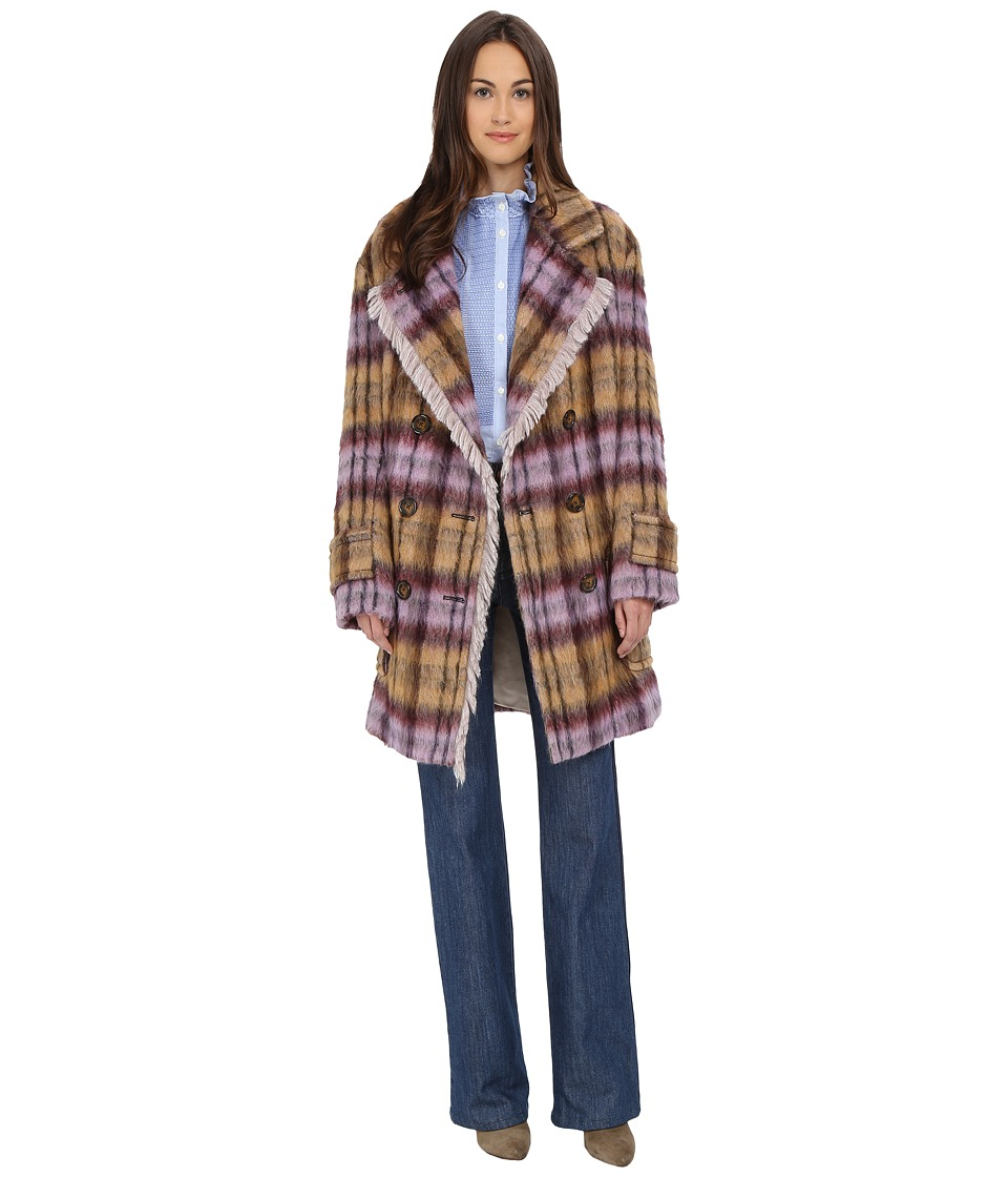 See by Chloe - Soft Check Fring Coat (Plaid Check) Women's Coat