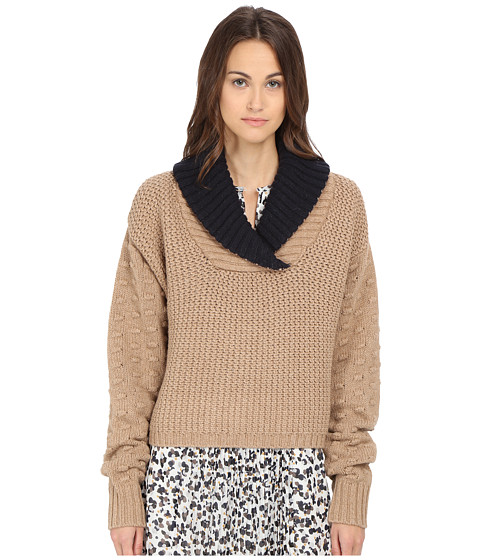 See by Chloe - Fancy Stich Cowl Sweater (Camel) Women's Sweater