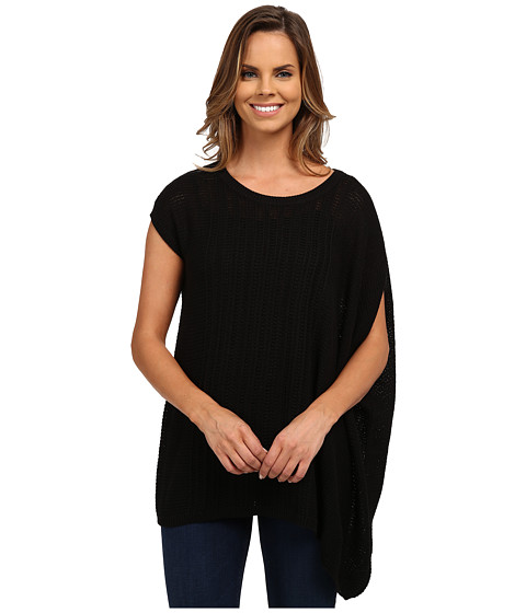 DKNY Jeans - Asymmetric Poncho Pullover (Noir) Women's Clothing