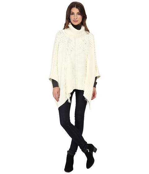 DKNY Jeans - Pullover Fringe Poncho (Polar Cream) Women's Clothing