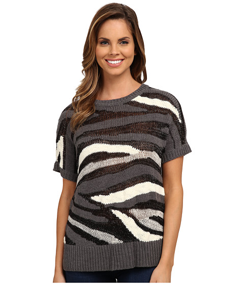 DKNY Jeans - Intarsia Stripe Shine Crop Pullover (Charcoal) Women