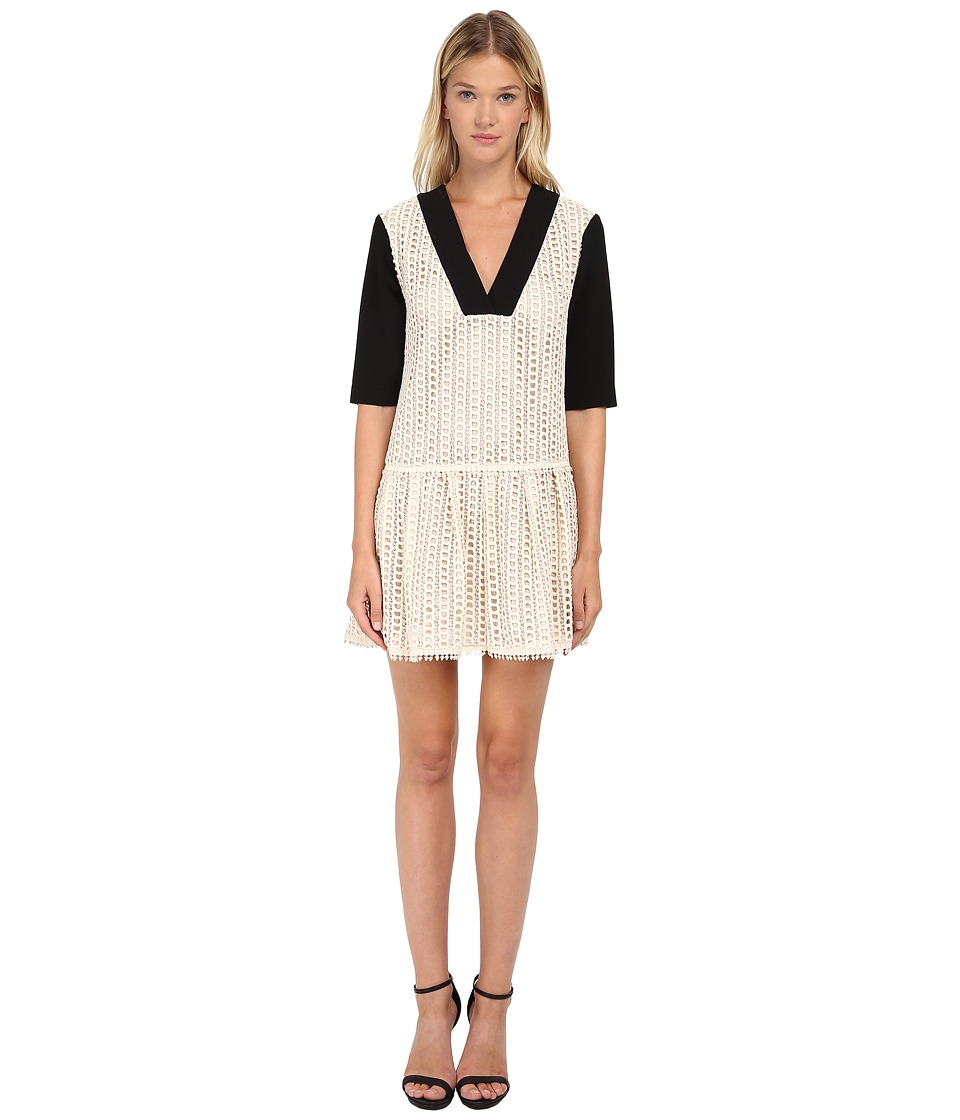 See by Chloe - Lace Crepe Short Sleeve Dress (Black/Ivory) Women's Dress