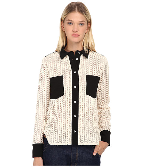See by Chloe - Lace Button Up Top (Black/Ivory 1) Women's Long Sleeve Button Up