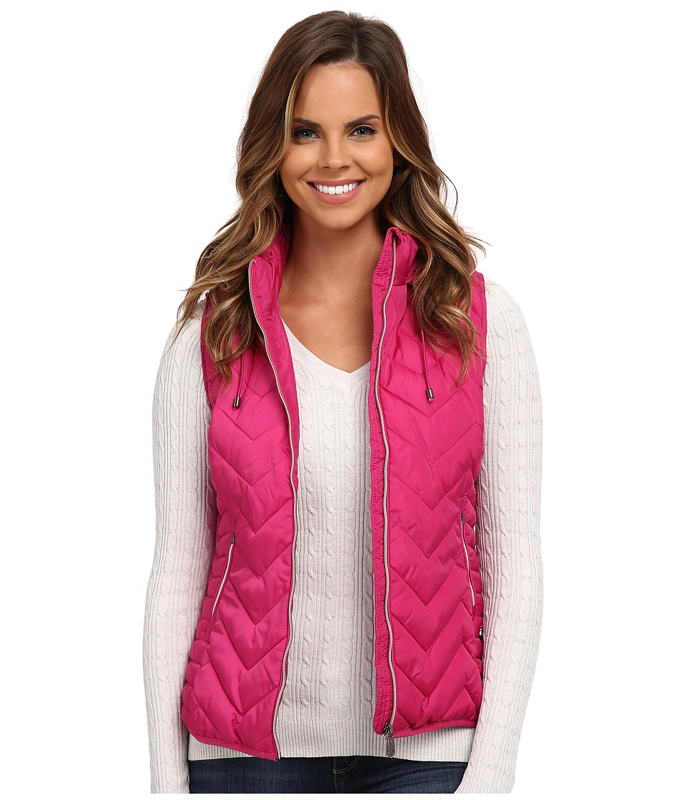 U.S. POLO ASSN. - Princess Seamed Hooded Puffer Vest (Very Berry Pink) Women's Vest