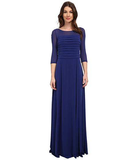 Sangria - 3/4 Mesh Sleeve Shutter Pleat Bodice Gown (Atlantic) Women's Dress