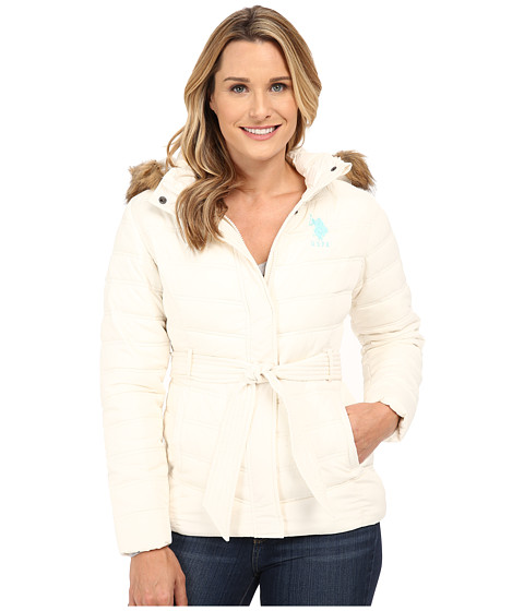 U.S. POLO ASSN. - Puffer Parka with Self Belt and Detachable Hood (Oat) Women
