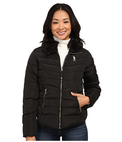 U.S. POLO ASSN. - Puffer Jacket with Removable Faux Fur Collar (Black) Women's Coat