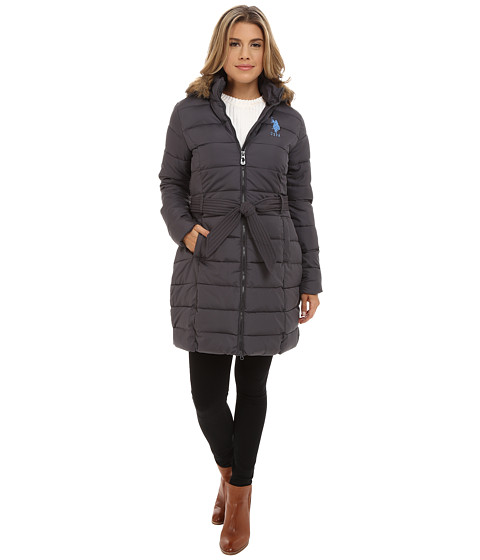 U.S. POLO ASSN. - Long Puffer Coat (New Grey) Women's Coat