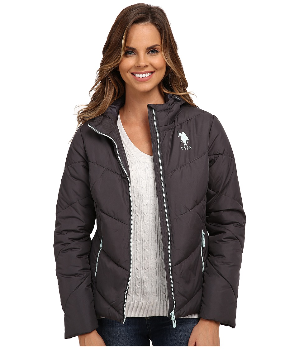 U.S. POLO ASSN. - Chevron Puffer Jacket (New Grey) Women's Coat