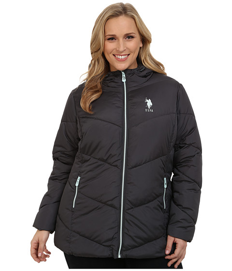 U.S. POLO ASSN. - Plus Size Hooded Puffer Jacket with Contrast Zippers (New Grey) Women