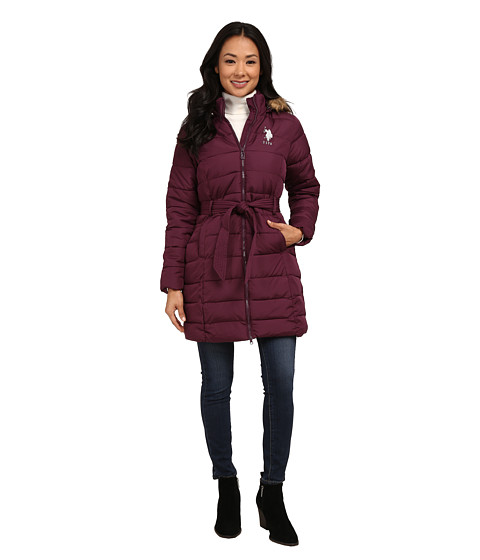 U.S. POLO ASSN. - Long Puffer Coat (Merlot Wine) Women's Coat