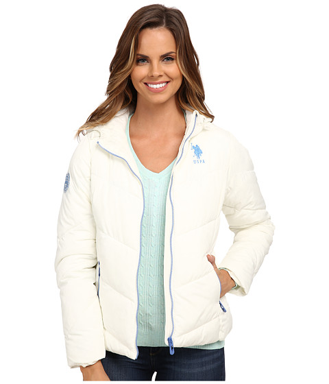 U.S. POLO ASSN. - Chevron Puffer Jacket (Oat) Women