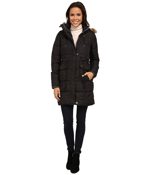 U.S. POLO ASSN. - Long Puffer Anorak with Faux Fur Trim Hood (Black) Women's Coat