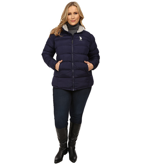 U.S. POLO ASSN. - Plus Size Princess Seamed Puffer Jacket (Evening Blue) Women