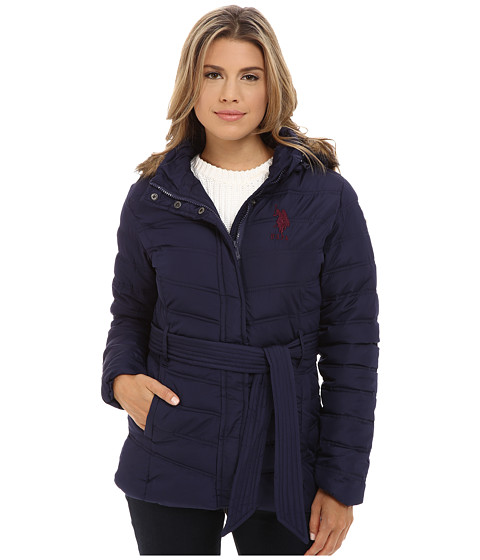 U.S. POLO ASSN. - Puffer Parka with Self Belt and Detachable Hood (Evening Blue) Women's Coat