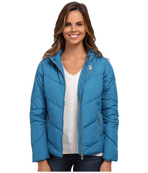 U.S. POLO ASSN. - Chevron Puffer Jacket (Saxony Blue) Women's Coat
