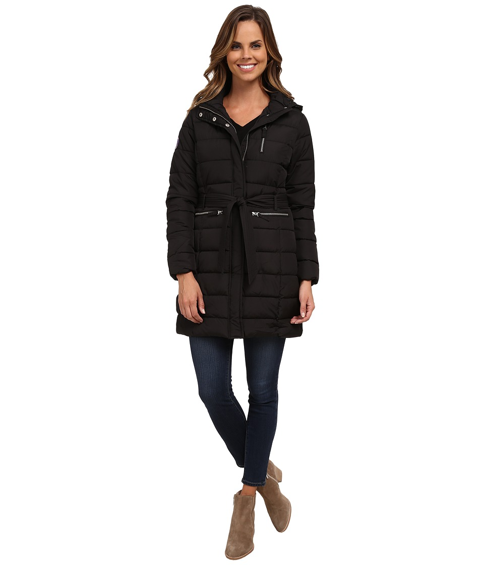 U.S. POLO ASSN. - Long Hooded Puffer Coat with Self Tie Belt (Black) Women's Coat