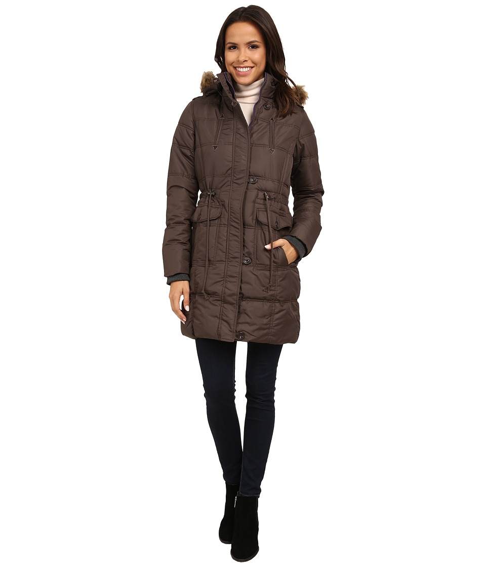U.S. POLO ASSN. - Long Puffer Anorak with Faux Fur Trim Hood (Mineral Grey) Women