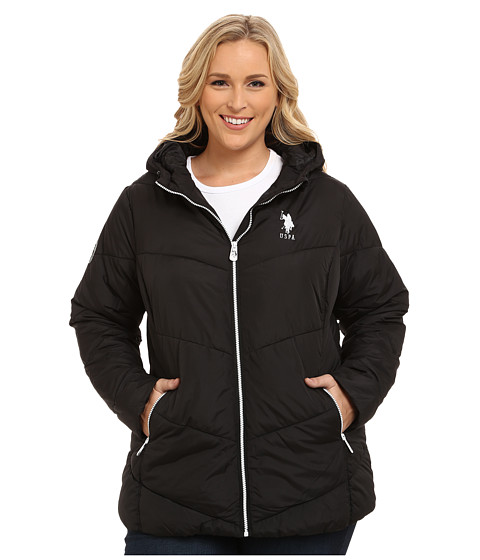 U.S. POLO ASSN. - Plus Size Hooded Puffer Jacket with Contrast Zippers (Black) Women