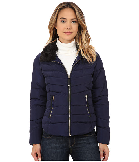 U.S. POLO ASSN. - Puffer Jacket with Removable Faux Fur Collar (Evening Blue) Women's Coat
