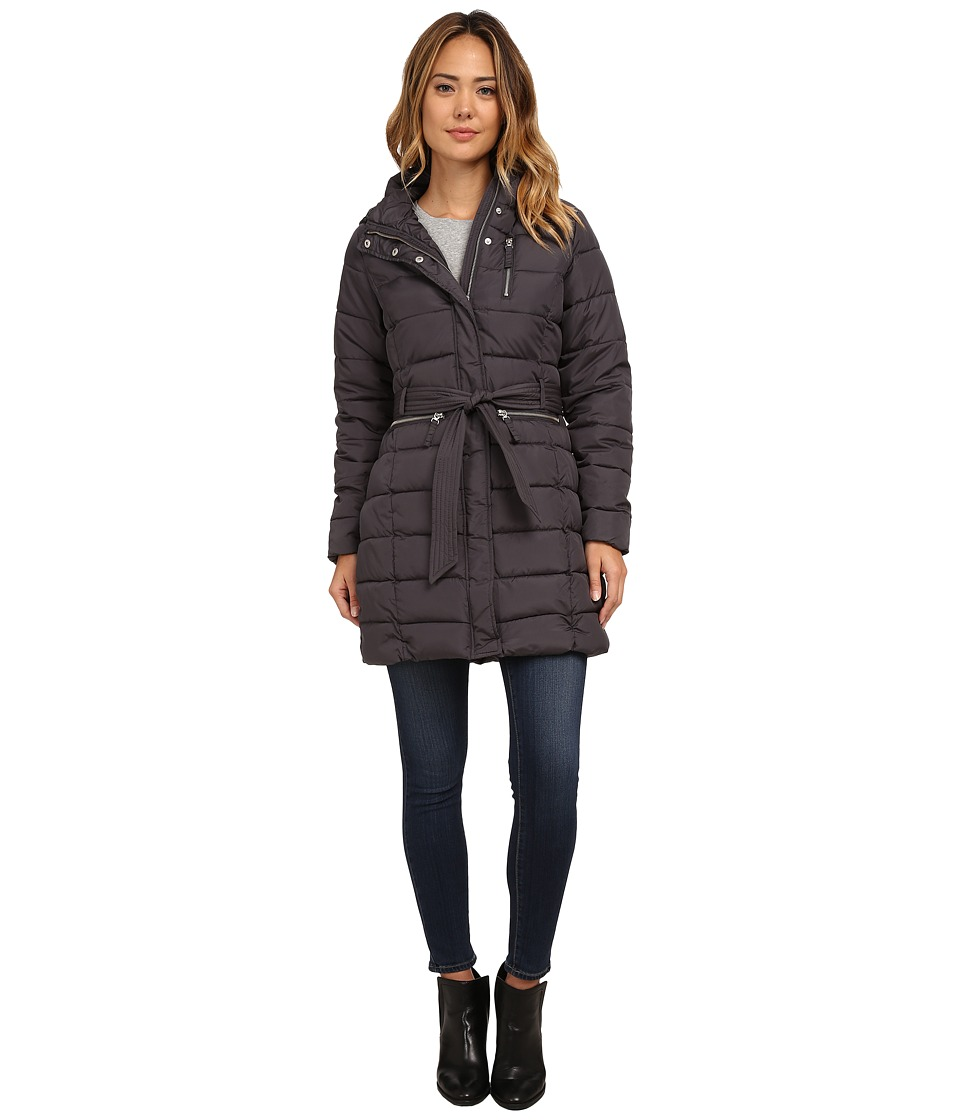 U.S. POLO ASSN. - Long Hooded Puffer Coat with Self Tie Belt (New Grey) Women's Coat