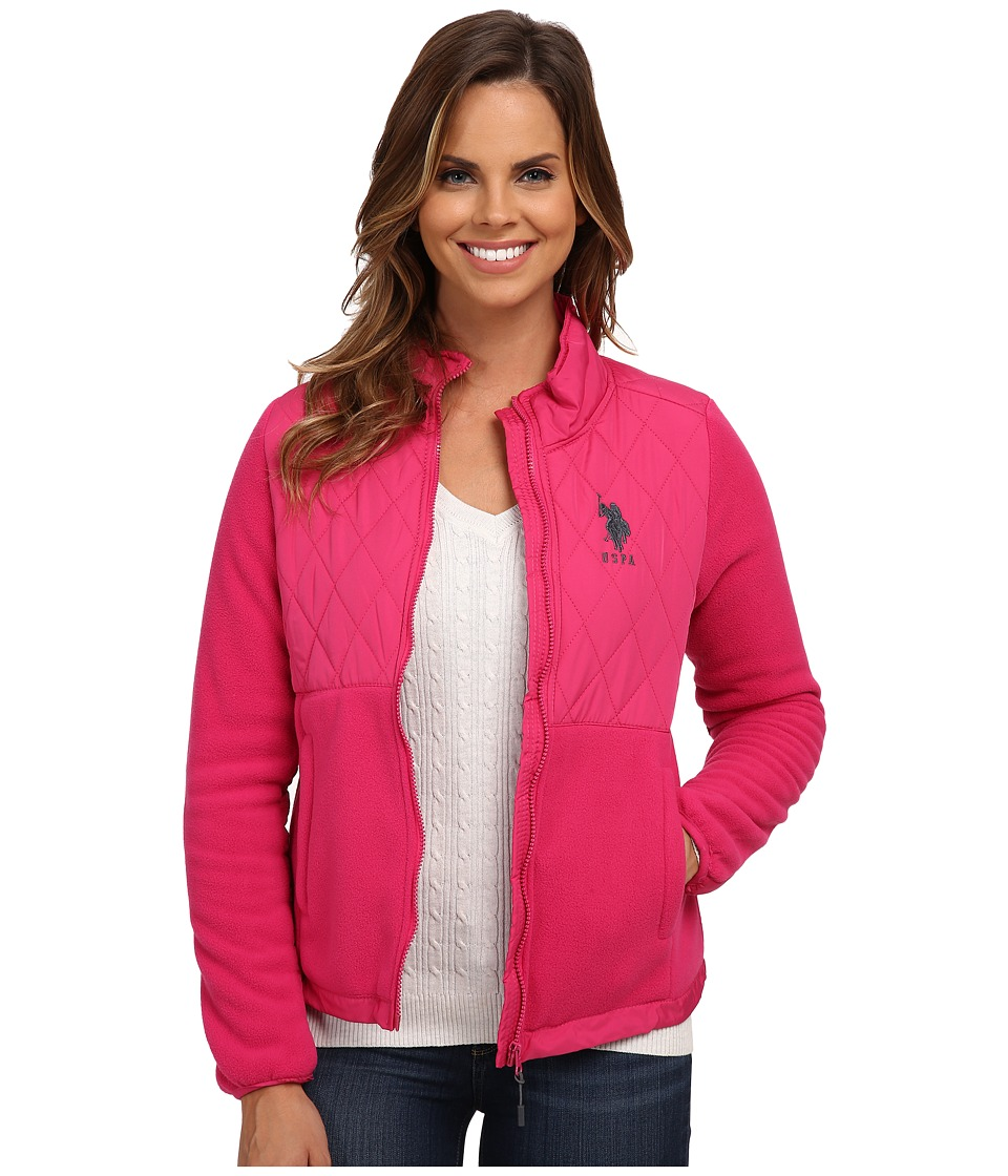 U.S. POLO ASSN. - Quilted Polar Fleece Jacket (Very Berry Pink) Women's Coat