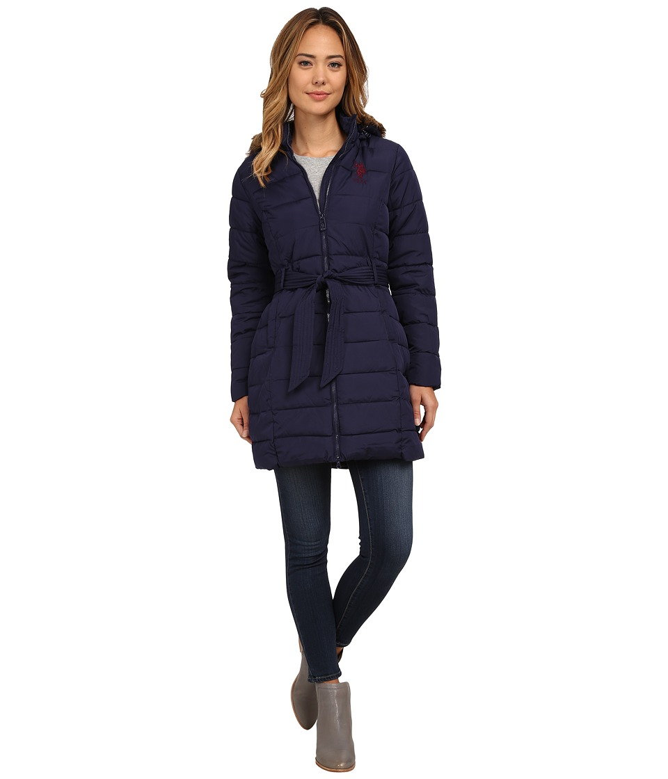 U.S. POLO ASSN. - Long Puffer Coat (Evening Blue) Women's Coat