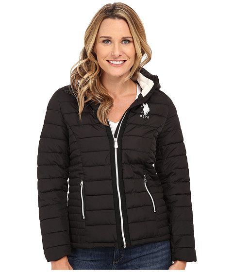 U.S. POLO ASSN. - Hooded Puffer Jacket (Black) Women's Coat