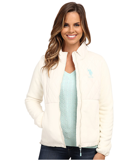U.S. POLO ASSN. - Quilted Polar Fleece Jacket (Oat) Women's Coat