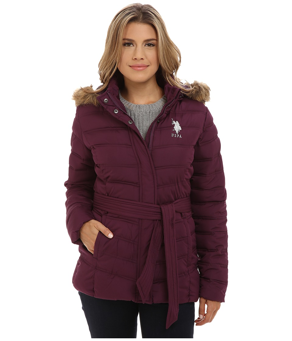 U.S. POLO ASSN. - Puffer Parka with Self Belt and Detachable Hood (Merlot Wine) Women's Coat