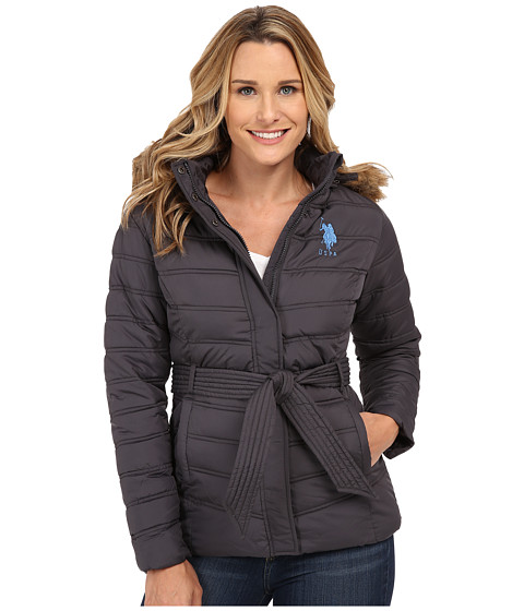 U.S. POLO ASSN. - Puffer Parka with Self Belt and Detachable Hood (New Grey) Women's Coat