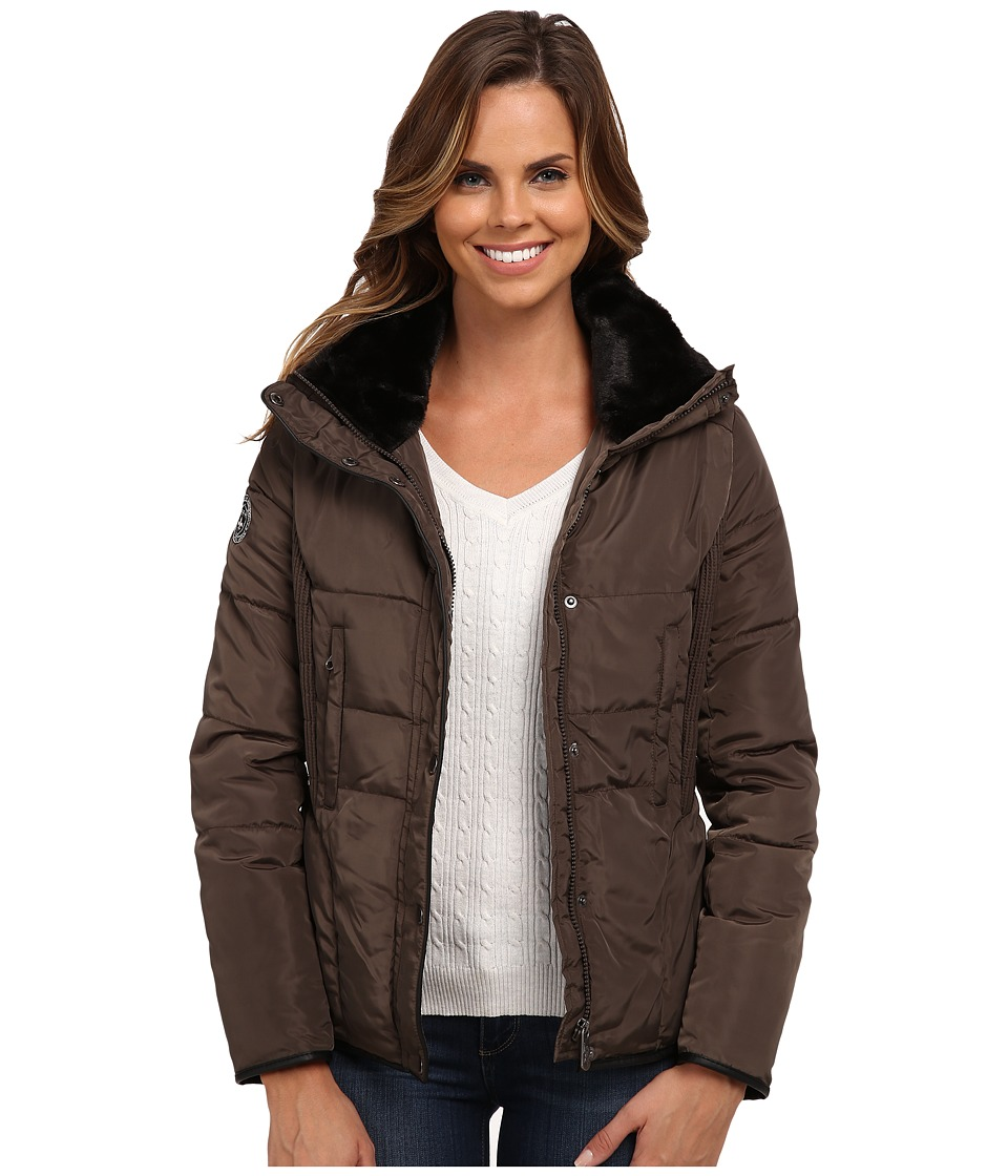 U.S. POLO ASSN. - Side Pin Tucked Puffer Jacket (Mineral Grey) Women's Coat