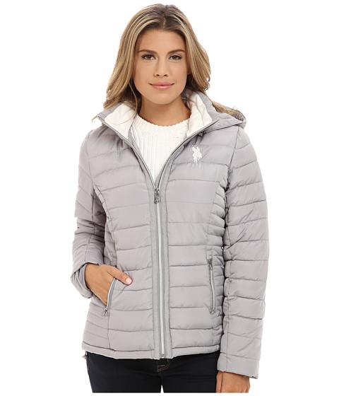 U.S. POLO ASSN. - Hooded Puffer Jacket (Dove Grey) Women