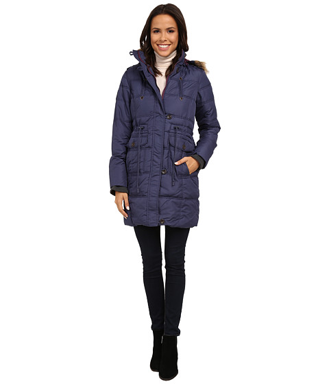 U.S. POLO ASSN. - Long Puffer Anorak with Faux Fur Trim Hood (Blue Vortex) Women's Coat