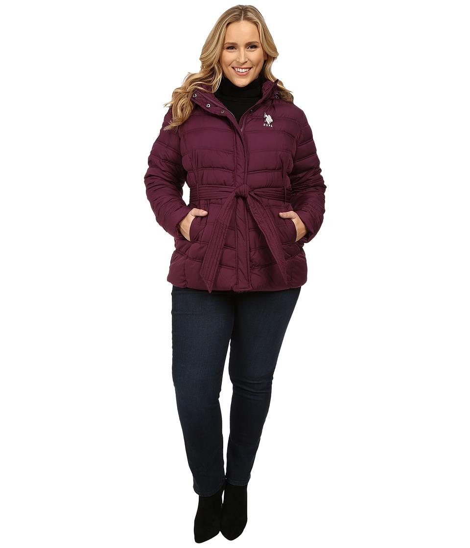 U.S. POLO ASSN. - Plus Size Puffer Parka with Self Belt and Detachable Hood (Merlot Wine) Women's Coat
