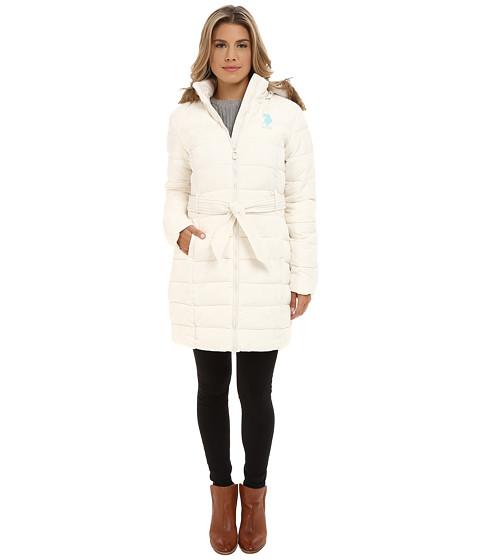 U.S. POLO ASSN. - Long Puffer Coat (Oat) Women's Coat
