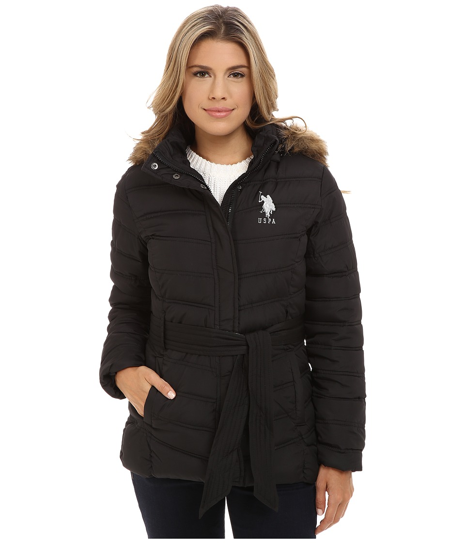 U.S. POLO ASSN. - Puffer Parka with Self Belt and Detachable Hood (Black) Women's Coat