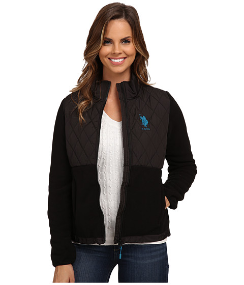 U.S. POLO ASSN. - Quilted Polar Fleece Jacket (Black) Women