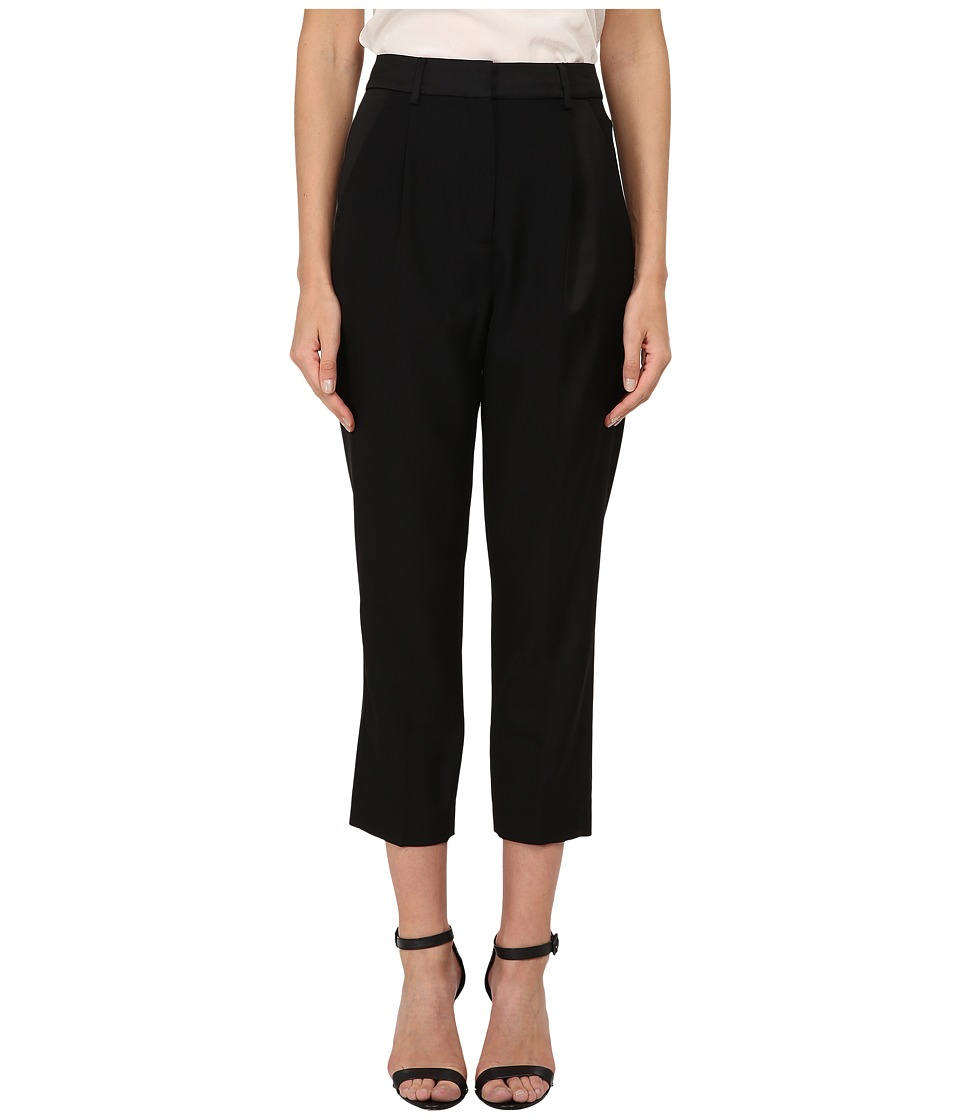 McQ - Satin Pleat Crop Trousers (Black) Women's Casual Pants