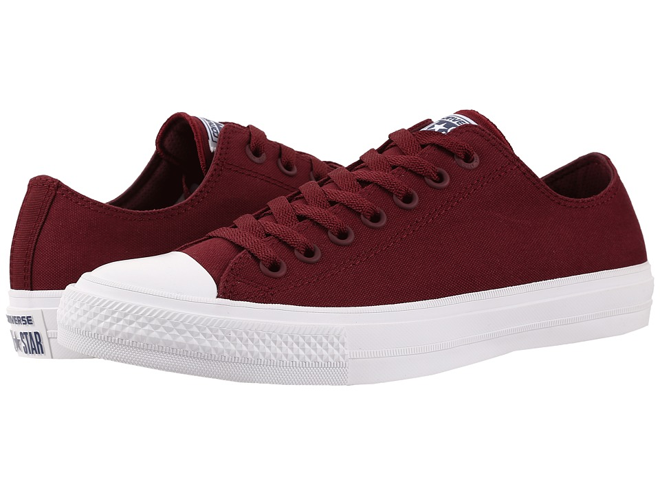 Converse Chuck Taylor All Star II Ox (Deep Bordeaux/White/Navy) Classic Shoes