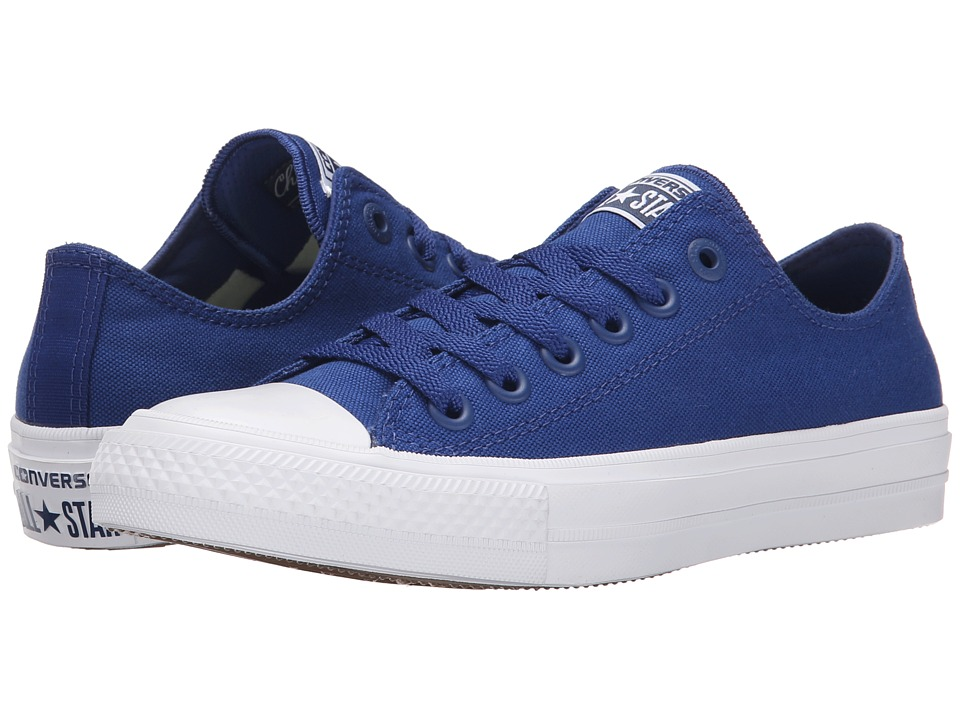 Converse Chuck Taylor(r) All Star II Ox (Sodalite Blue/White/Navy) Classic Shoes