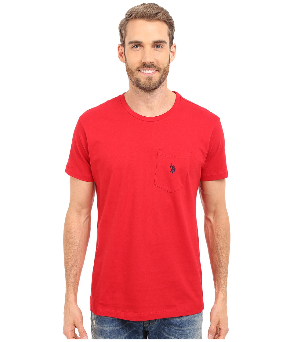 U.S. POLO ASSN. - Solid Crew Neck Pocket T-Shirt (Engine Red) Men's Short Sleeve Pullover