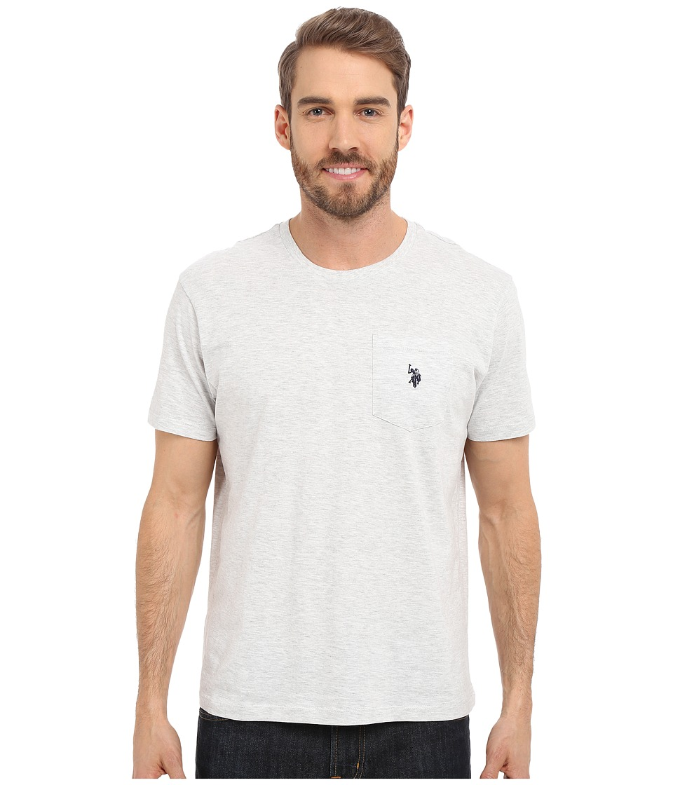 U.S. POLO ASSN. - Solid Crew Neck Pocket T-Shirt (Light Heather Gray) Men's Short Sleeve Pullover